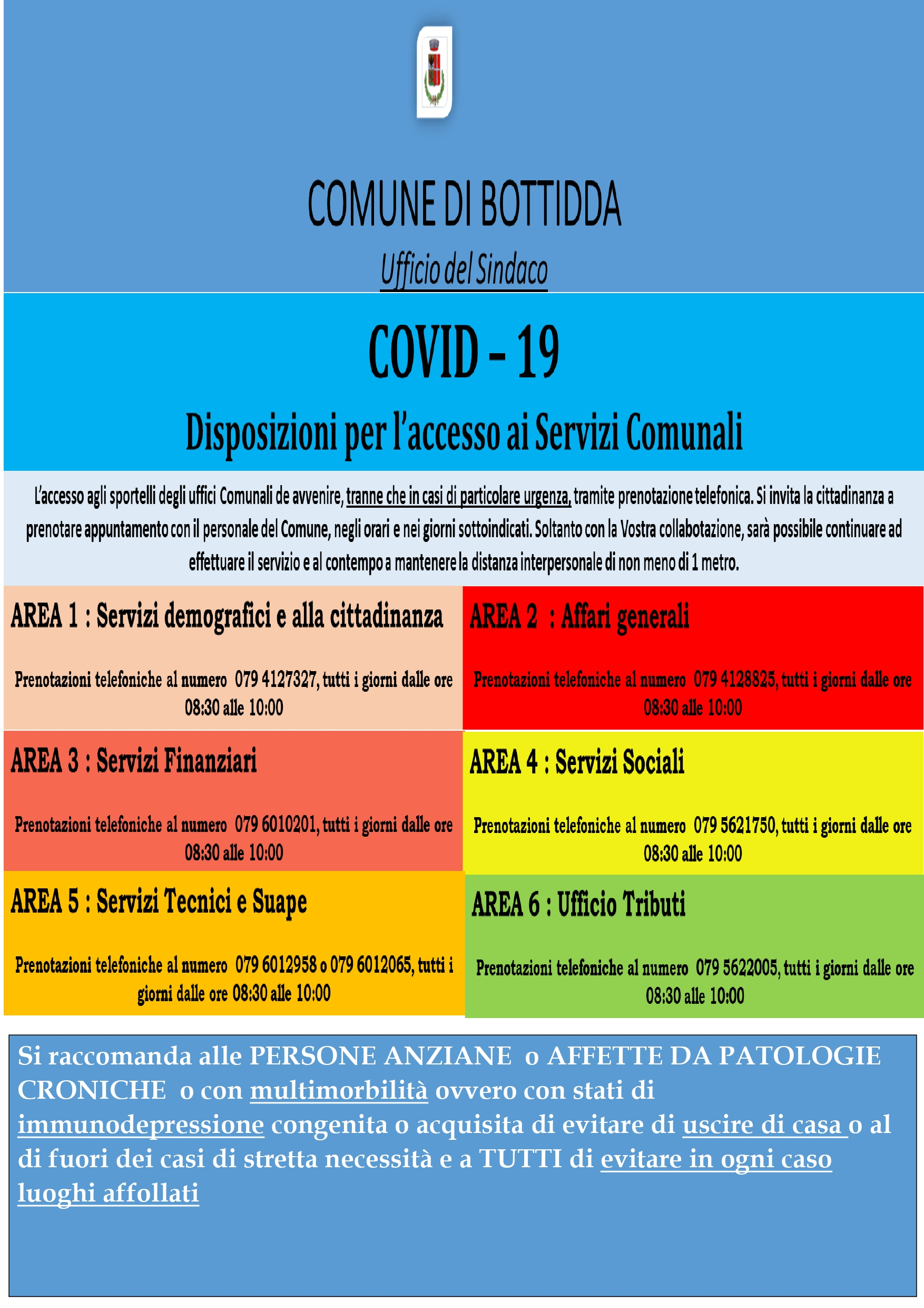 COVID-19 - DISPOSIZIONI PER L'ACCESSO AI SERVIZI COMUNALI