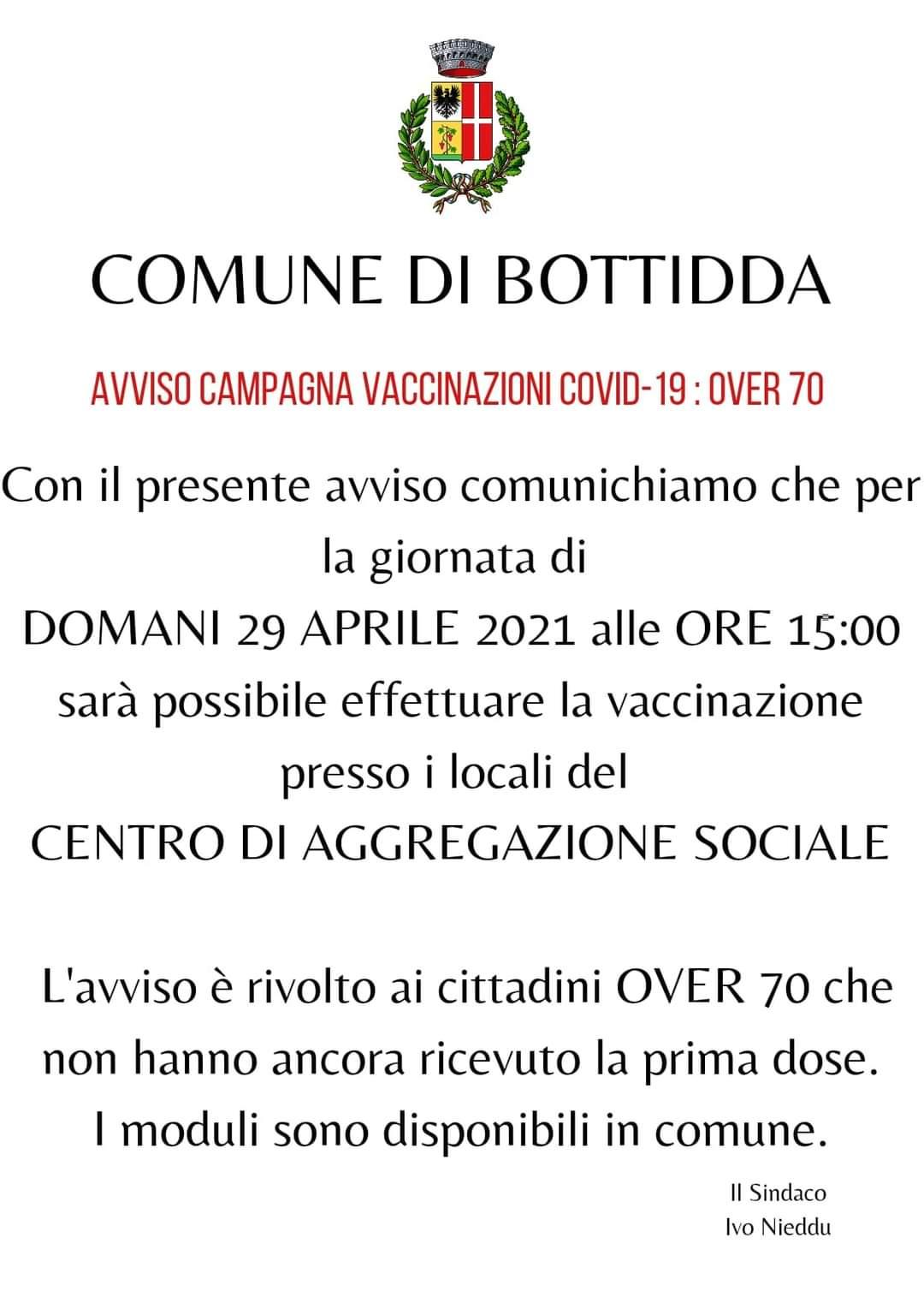 CAMPAGNA DI VACCINAZIONE COVID 19 - OVER 70