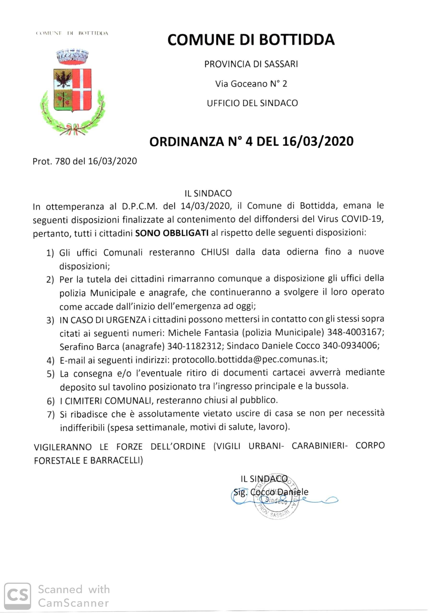 COVID-19 - ORDINANZA SINDACALE CHIUSURA UFFICI COMUNALI